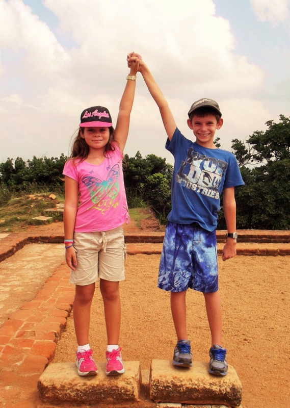 Max and Ava reaching the top of Sigiriya Rock (569x800)